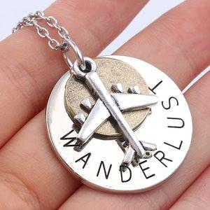 "Jewelry - Vintage ""wanderlust"" necklace w/airplane charm"